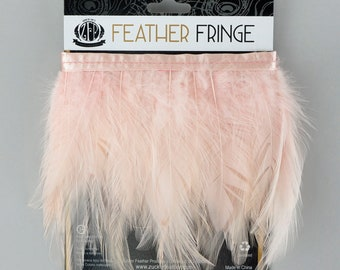 CHAMPAGNE 1YD Dyed Hackle Feather Fringe - Feather Fringe for DIY Arts and Crafts, Costume, Fashion & Millinery Design  ZUCKER®
