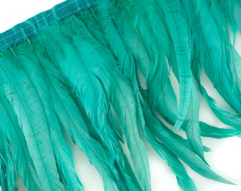 "10-12"" AQUAMARINE Dyed Coque Feather Fringe 1YD - DIY Crafts, Carnival, Cosplay, Costume, Millinery & Fashion Design Feather Fringe ZUCKER®"