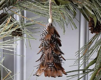 Decorative Mini Feather Tree Ornament - Pheasant w/Guinea Feathers - Fall Thanksgiving Decor, Unique Holiday Decorative Ornaments ZUCKER®