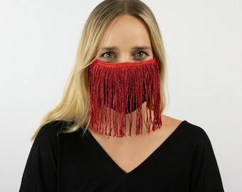 Fitted Fringe Mask, Metallic Red Reusable Face Mask, Washable, Halloween Covid Mask, Face Mask, Face Covering ZUCKER® Limited Edition