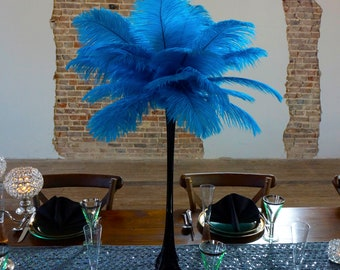 TURQUOISE Ostrich Feather Centerpiece Sets BLACK w/Eiffel Tower Vase For Great Gatsby Party, Special Event & Wedding Reception Decor ZUCKER®