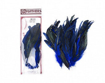 "BLUE Dyed Rooster Feathers, 8-10"" Barred Rooster Feathers, 25pcs Rooster Coque Tails For Arts & Crafts,DIY, Millinery,Costume Design ZUCKER®"