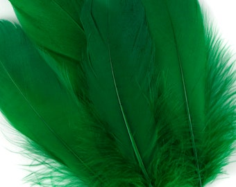 "BULK 6-8"" EMERALD Loose Dyed Goose Pallet Feathers - For Arts ,Crafts, Dream Catcher, Millinery, Carnival, Costume & Cosplay Design ZUCKER®"