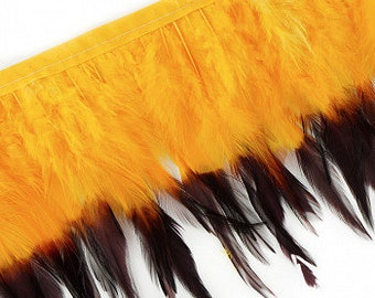 """1 Yard GOLD Tipped & Dyed Saddle Feather Fringe approx 6-8"""" - For Cultural Arts, Carnival, Costume, Fashion, Millinery Design  ZUCKER™"""