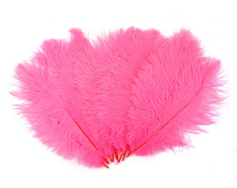 """Ostrich Feathers 13-16"""" Neon PINK ORIENT - For Feather Centerpieces,Party Decor,Millinery,Carnival,Fashion and Costume Design ZUCKER®"""
