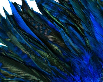 """Turquoise Chinchilla Rooster Feathers, 8-10"""" Long Barred Rooster Feathers, Dyed Strung Bulk Feathers For Carnival & Costume Design ZUCKER®"""