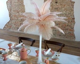 CHAMPAGNE Ostrich Feather Centerpiece Sets WHITE Eiffel Tower Vase - For Great Gatsby Party, Special Event & Wedding Reception Decor ZUCKER®