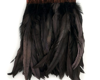 DARKBROWN 1YD Metallic Dyed Iridescent Coque Tail Feather Fringe - For DIY, Carnival, Cosplay, Costume, Millinery & Fashion Design ZUCKER®