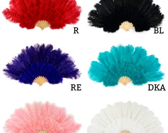 Large Ostrich and Marabou Feather Fan - For Burlesque Fan Dance, Boudoir Photoshoot Accessory, Showgirl Costume & Halloween Events ZUCKER™