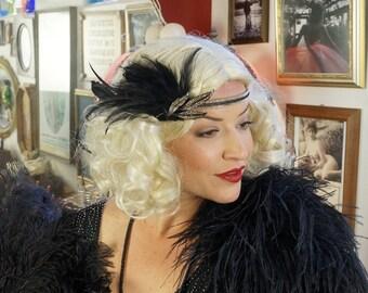 Gold Feather Headband w/Rhinestone Leaf - Great Gatsby - Harlem Nights - Roaring 20's - Costume Feather Headband & Fashion Accessory ZUCKER®
