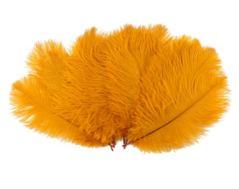 "Ostrich Feathers 9-12"" MARIGOLD, Ostrich Drabs, Centerpiece Floral Supplies, Carnival & Costume Feathers ZUCKER®Dyed and Sanitized USA"