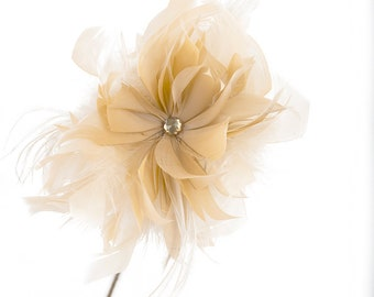 Goose/Turkey/Ostrich Feather Floral Pick w/Rhinestone Beige