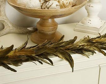 Decorative Gilded Metallic Gold Feather Garland - For Holiday and Home Decor ZUCKER®