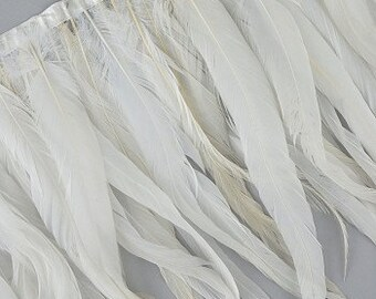 1 Yard Natural White Coque Tail Feather Fringe - DIY Art Crafts, Carnival, Cosplay, Costume, Millinery & Fashion Design ZUCKER®