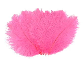 """Ostrich Feathers 9-12"""" Neon PINK Orient, Ostrich Drabs, Centerpiece Floral Supplies, Carnival, Costume Feathers ZUCKER® Dyed & Sanitized USA"""