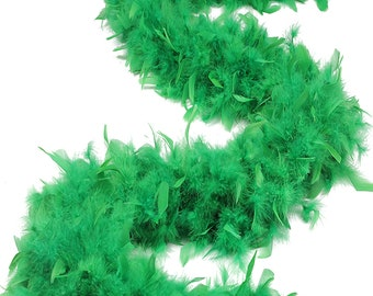 120 Gram Chandelle Feather Boa Kelly Green 2 Yards For Party Favors, Kids Craft & Dress Up, Dancing, Wedding, Halloween, Costume ZUCKER®