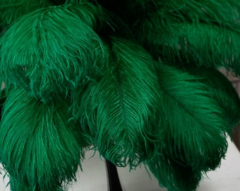 "Ostrich Feathers 17-20"" Emerald, 1 to 25 pcs, Ostrich Plumes, Carnival Samba, Ostrich Drab, Mardi Gras, Centerpiece, Feather Fan ZUCKER® USA"