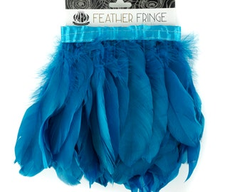 TURQUOISE 1 Yard Parried Goose Pallet Feather Fringe - For DIY Art Crafts, Carnival Costume, Cosplay, Millinery & Fashion Design ZUCKER®