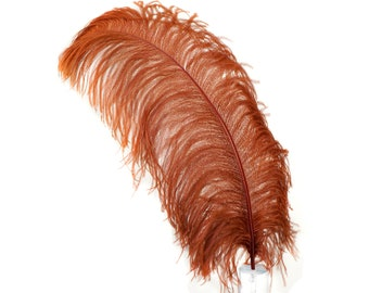 """COPPER 25 Large Ostrich Feathers 17-25"""" 25pc/pkg - For Feather Centerpieces, Party Decor, Millinery , Carnival , Costume ZUCKER®"""