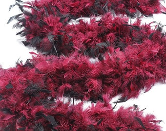 120 Gram Chandelle Feather Boa Tipped BURGUNDY & BLACK 2 Yards For Party Favors, Kids Craft, Dress Up, Dancing, Halloween, Costume ZUCKER®