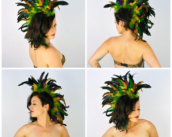 Mardi Gras Feather Mohawk Headdress - Festival, Costume, Halloween, Carnival, Rave Wear ZUCKER® Feather Place Original Designs