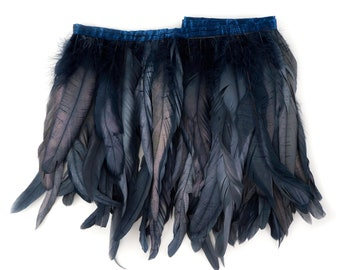 Black Pearl Metallic Dyed Iridescent Coque Tail Feather Fringe for DIY, Carnival, Cosplay, Costume, Millinery & Fashion Design ZUCKER®