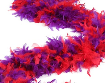 120 Gram Chandelle Feather Boas Red and Purple Mix 2 Yards For Red Hat Ladies, Party Favors, Dress Up, Dancing, Halloween, Costume ZUCKER®