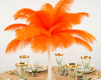 """Ostrich Feathers 13-16"""" ORANGE - For Feather Centerpieces, Party Decor, Millinery, Carnival, Fashion & Costume ZUCKER®"""