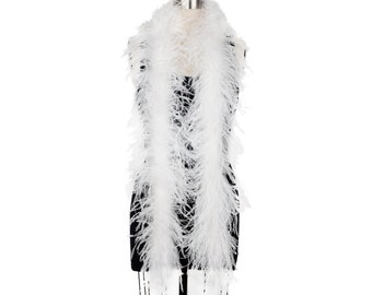 2 Ply Ostrich Feather Boa WHITE w/OPAL 2 Yards For Fashion Accessory, Halloween Costume Design, Dress Up, Dancing, Stage Performance ZUCKER®