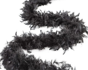 60 Gram Chandelle Feather Boa, Black 2 Yards For Party Favors, Kids Crafting & Dress Up, Dancing, Wedding, Halloween, Costume ZUCKER®