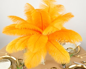 """Ostrich Feathers 13-16"""" MANGO orange - For Feather Centerpieces, Party Decor, Millinery, Carnival, Fashion & Costume ZUCKER®"""