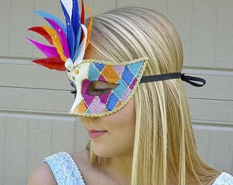 Jubilee Masquerade Feather Mask w/Glitter Details for Halloween, Cosplay, Masquerade Ball, PRIDE Festivals, Parties & Special Events ZUCKER®