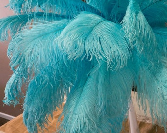 """Ostrich Feathers 17-20"""" Light TURQUOISE, 1 to 25 pc, Ostrich Plumes, Carnival Samba, Ostrich Drab, Mardi Gras, Centerpiece, Fans ZUCKER® USA"""