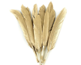 """4-6"""" GOLD Gilded Goose Pointer Feathers 12 Pieces - For Arts & Crafts projects, DIY Dreamcatchers, Costume Design and more ZUCKER®"""