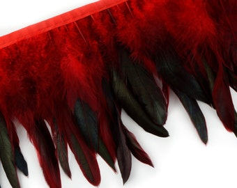 """RED 1 Yard Dyed over Half Bronze Iridescent Schlappen Feather Fringe approx 6-8"""" - Fringe for Costume, Fashion & Millinery Design  ZUCKER®"""