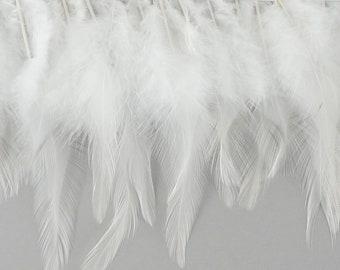 """1 Yard WHITE Dyed Saddle Feather Fringe approx 5-6"""" - Fringe for Costume, Fashion & Millinery Design  ZUCKER®"""