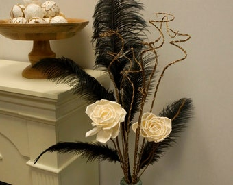 Black Ostrich Feather Decorative Pick/Stem for Event and Home Decor ZUCKER®