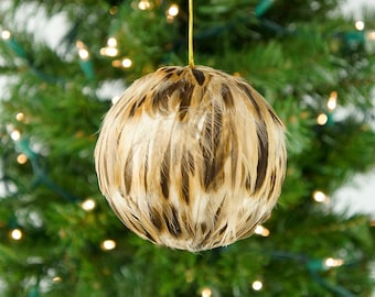 """Decorative Feather Ornament - 4"""" Natural Brown Duck Feathers - Christmas Decor, Unique Holiday Decorative feather ornament ZUCKER®"""