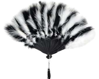 Black and White Feather Fans, Small Marabou Feather Fan, Cheap Feather Fan For Photobooths, Costume Parties, Carnival & Halloween ZUCKER®