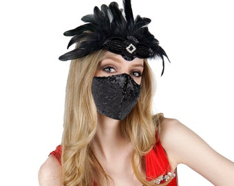 Black Feather Fascinator with Black Sequin Mask for Great Gatsby Roaring 20's, Halloween Costume Parties & Fashion Accessory ZUCKER®