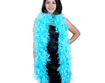 120 Gram Chandelle Feather Boa Light Turquoise 2 Yards For Party Favors, Kids Craft & Dress Up, Dancing, Wedding, Halloween, Costume ZUCKER®