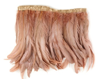 Rose Gold Metallic Dyed Iridescent Coque Tail Feather Fringe - For DIY, Carnival, Cosplay, Costume, Millinery & Fashion Design ZUCKER®