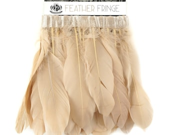 Beige Feather Fringe, 1 Yard Parried Goose Feather Fringe For DIY Art Crafts, Carnival Costume, Cosplay, Millinery & Fashion Design ZUCKER®