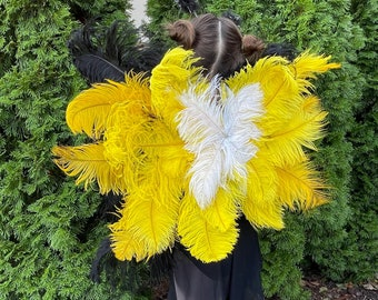 Bumblebee Upcycled Ostrich Feather Costume Wings - w/2nd Quality Ostrich Feathers, Bumblebee Costume Feather Wings ZUCKER® Original Designs