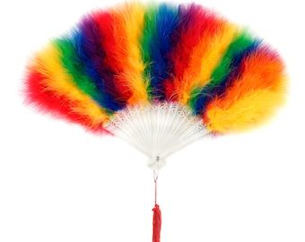 Rainbow Feather Fans, Small Marabou Feather Fan, Cheap Feather Fan For Photobooths, Costume Parties, Carnival and Pride Events ZUCKER®