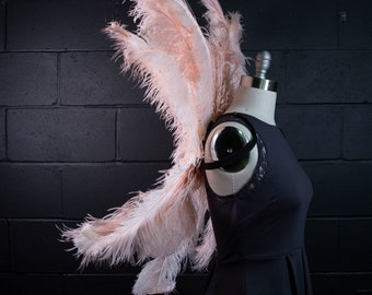 Large Upcycled Ostrich Feather Costume Wings made with 2nd Quality Ostrich Feathers, Fantasy Costume Feather Wings ZUCKER® Original Designs