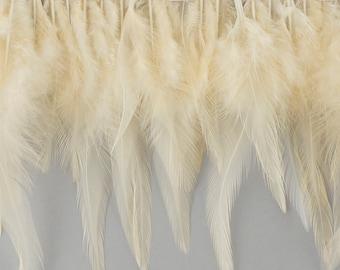 """1 Yard IVORY Dyed Saddle Feather Fringe approx 5-6"""" - Fringe for Costume, Fashion & Millinery Design  ZUCKER®"""
