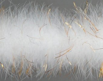 Marabou Feather Boas WHITE with Shiny Gold Lurex, 20 Grams 2 Yards, DIY Art Crafts Carnival Fashion Halloween Costume Decor ZUCKER®