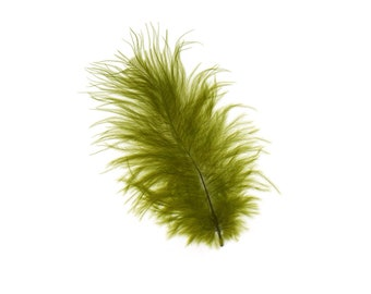 Turkey Feathers, Olive Green Loose Turkey Marabou Feathers, Short and Soft Fluffy Down, Craft and Fly Fishing Supply Feathers ZUCKER®