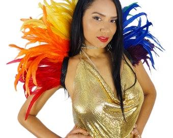 Rainbow Carnival Feather Collar - PRIDE Rainbow Feather Collar - Zucker Feather Place Original Designs